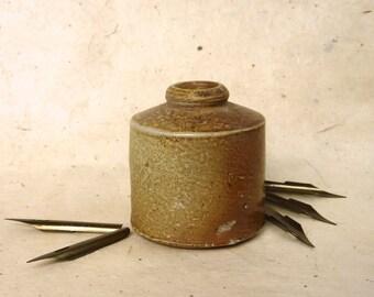 Antique Stoneware Victorian Era Ink Bottle and Ink Pen Nibs