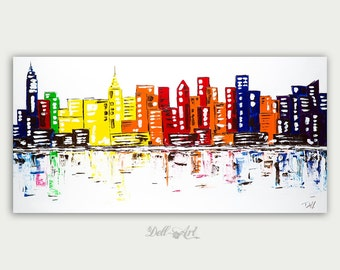 Original Colorful New York Skyline, Oil Painting, Abstract Modern Skyline, Fine Art, Home Decor