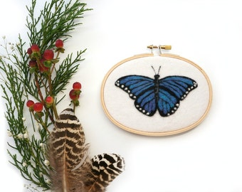 """Blue Butterfly - Needle Felted Wool Painting Hoop - 3.5 x 5"""" Oval"""