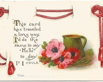 Red Rose and Pink Wild Rose and Old Fashioned Water Pitcher Decorative Red Satin Rope Vintage Postcard