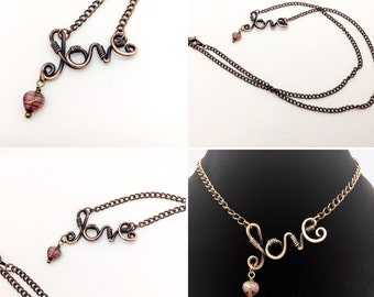 Copper Wire Word Love Necklace