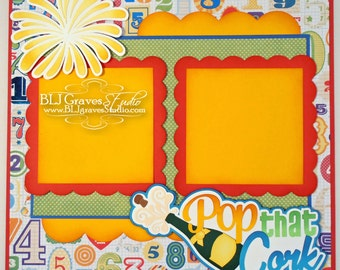New Years Champagne Premade Scrapbook Page 12x12 Layout Paper Piecing Handmade 13