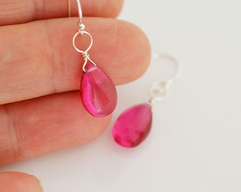 Pink Earrings, Pink Quartz Earrings, Small Earrings, Sterling Silver Earrings
