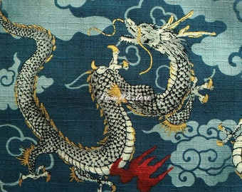 Dragon and fire, teal, gold metallic, 1/2 yard, pure cotton fabric