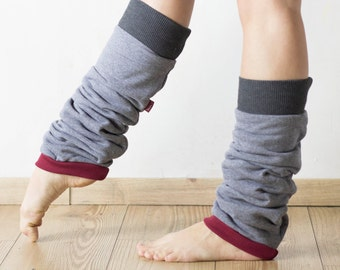 Slouchy leg warmers, dancer leg warmers, yoga socks, boot cuffs, cotton leg warmers in mid-grey