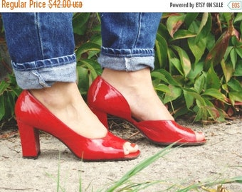SALE Vintage 70's Red Patent Leather Heels Mod  Peeptoes 7.5