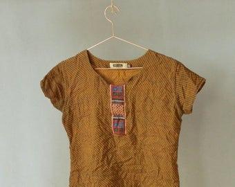 SALE Vintage sari shirt embroidered short sleeve shirt womens short sleeve shirt