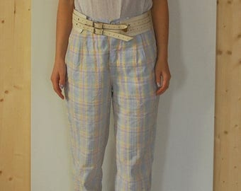 SALE Vintage 80's High Waisted Checkered Pants pleated summer pants