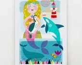 Litle Miss Mermaid and Friends, print by Ellen Giggenbach