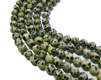 Dalmatian Jasper - 8mm Round Bead - Full Strand - 45 beads - black spotted stone - polka dot