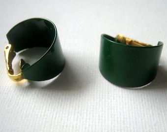 Coro Earrings, Vintage Mini Clip On Green Loop Earrings, Fashion Jewelry, For Her