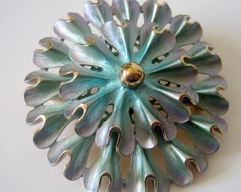 Large Enamel Brooch, Vintage Blue Violet Flower Pin Brooch, 6cm