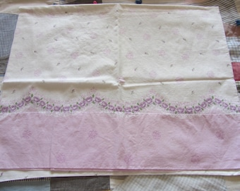 Vintage Feedsack Pillowcase Purple White Rose Floral Border Print