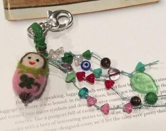 Lucky Matryoshka/Babushka/Nesting Doll Zipper Pull/Key Chain
