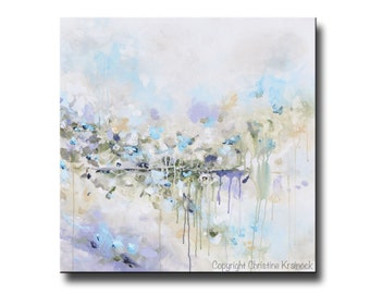 ORIGINAL Large Art Abstract Painting White Blue Grey Oil Painting Home Decor Wall Art Large Art Coastal Floral Gold Grey Lavender- Christine