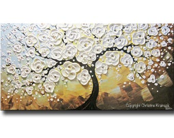 ORIGINAL Modern Art Abstract Painting White Cherry Tree Large Art Acrylic Painting Floral Wall Decor Textured Flowers Blue Gold- Christine