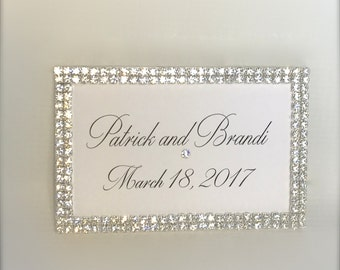 Rectangular Nameplate, Wedding Sign, Marriage Date, Gift Tag, Rhinestone Edged, Hand Calligraphy, Personalized,