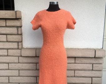 Vintage Hand Knit Orange Sherbet Boucle Sheath Dress Size XS