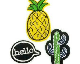 Set of 3 Cactus, Pineapple and Hello Quote Embroidered Applique Patches. Iron On or Sew On Badges for T-shirts, Jeans, Shirts. Black yellow