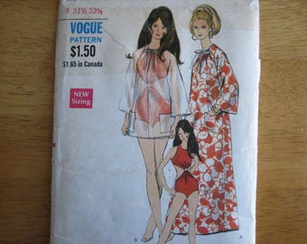 Vogue Pattern 7316 Misses' Cover-i[ in Two Lengths and Swim Suit    circa 1968     Uncut
