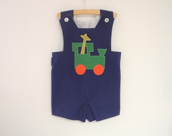 Vintage Baby Clothes, 1970's Handmade Sleeveless Navy Blue Baby Boy Romper, Vintage Baby Romper, Blue Baby Romper, Baby Romper, Size 3T-4T
