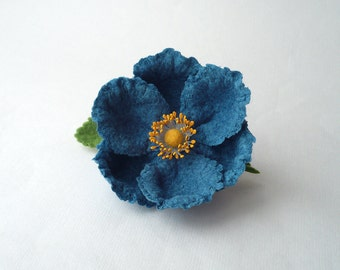 Felt flower brooch blue flower pin, nuno felt flower from wool and silk, nunofelt flower