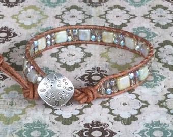 Green Beaded Bracelet Wrap Bracelet Leather Wrap Bracelet Free Shipping Bohemian Tan Natural Leather