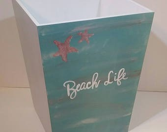 Garbage Can - Trash Can - Beach Bathroom Trash Can - Beach Life - Beach Waste Basket - Beach Garbage Can - Green and Blue Waste Basket