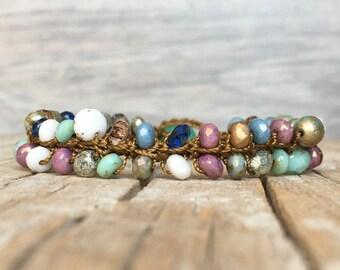 Boho crochet bracelet - Boho Hippie Stackable Bracelet - artisan beaded bracelet - yoga boho - hippie bracelet - beaded bracelet