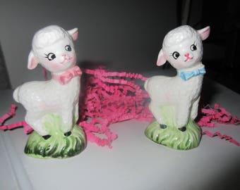 Sweet ram and ewe Lamb,sheep Salt and Pepper Shaker,charming glass,tabletop,tableware,Shabby,bow ties,darling, serving boy, girl,female,male