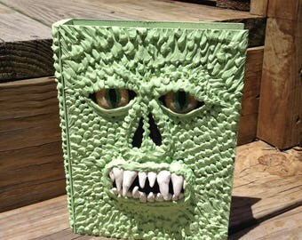 Necronomicon-style Reptilian decorated book wooden box with drawer Glass eyes OOAK artwork prop cosplay