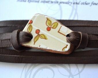 Deerskin Leather and Greek Beach Pottery with Cherrys wrap Bracelet