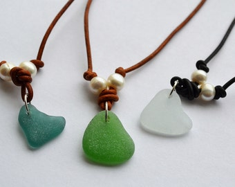 """Leather 23"""" Long Necklace with 4"""" extension Heart Seaglass From Greece in Green, Teal and White and Pearls"""