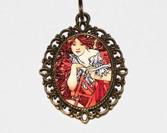 Goddess Necklace, Bicycle Jewelry, Bike, Art Nouveau, Mythology, Alphonse Mucha, Bronze Oval Pendant