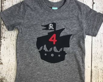 Pirate Birthday Shirt, pirate ship, birthday shirt, pirate party, boy's tshirt, custom shirt for any age Tee Skull and Crossbones