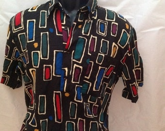 Mens Vintage Alan Stuart Multi-colored Graphic  70s Polo Pullover Banded Hem Shirt M 15-15 1/2