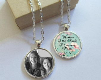 Mother of the Bride Necklace, Custom Double Sided Photo Pendant, Personalized Necklace