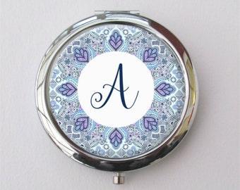 Personalized Compact Mirror - Boho Wedding - Custom Bridesmaid Gift