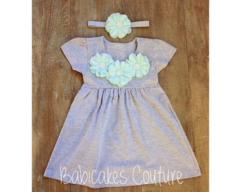 Mint and Gray Dress, Heather Gray Dress, Gray Dress with Chiffon Flowers and Pearls,  Baby Girl Gray Dress, Baby Girl Summer Dress