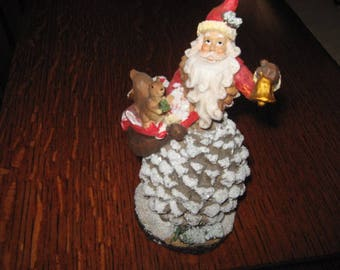 Pinecone Santa Figurine