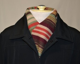 earth tones rose sage tan burgandy serape SCARF handmade of Pendleton Native American navajo wool mens or womens short tuxedo scarf