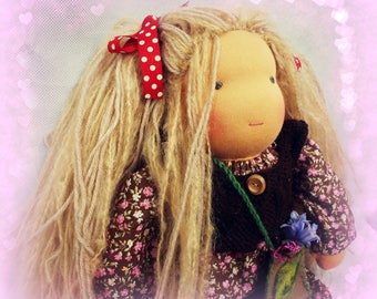"BEE, 16"" Waldorf doll, pale blonde hair. Waldorf inspired doll made from completely natural materials"