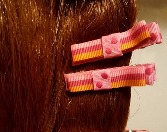 Pink Spots 'n' Stipes Hair Bows