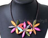 Multi-color shell Leather necklace wedding gift - Mother's Day Gift Sister Gift, Friend Gift,