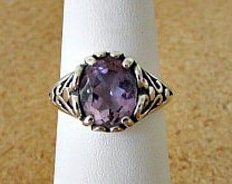 vintage 70s amethyst sterling heart filigree ring size 7 kabana ring 3 carat free shipping
