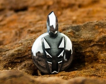 Handmade Solid 925 Sterling Silver Black Jackal Seal Pendant / Reversible Dogstone Charm