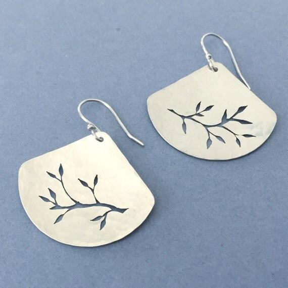 Silver Leaf Earrings. Hand sawn design