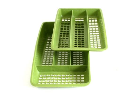Deka Plastics Silverware Organizer 2 Tier Trays 192 193 Avocado Green 1960s 1970s kitchen