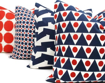 Schumacher Studio Bon Indoor Red and Blue Pennant Pillow Cover, Square Lumbar or Eurosham, Schumacher