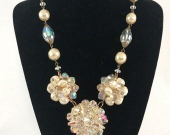 OOAK Vintage Brooch Pearl and Rhinestone Crystal Necklace